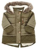 F&F Faux Sheepskin Lined Padded Coat, Newborn Girl's