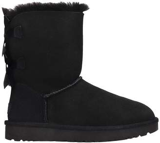 UGG Bailey Bow Ii Low Heels Ankle Boots In Black Suede