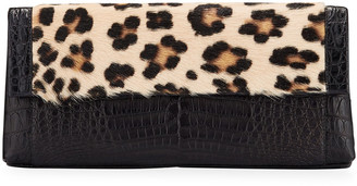 Nancy Gonzalez Gotham Large Leopard-Print Goat Fur & Crocodile Clutch Bag