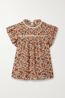 Ulla Johnson Etta Ruffled Floral-print Cotton-crepon Top - Brown