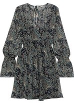 Joie Manning Belted Printed Metallic Georgette Mini Dress