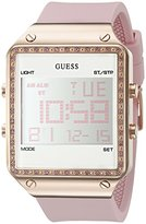 GUESS Women's U0700L2 Digital Pink Silicone Watch with Alarm, Dual Time Zone and Chronograph Functions