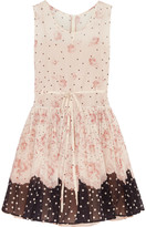 RED Valentino Printed stretch-silk chiffon mini dress