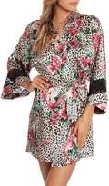Jonquil In Bloom By Floral Leopard Print Wrapper Robe