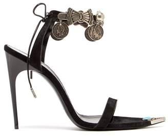 Saint Laurent Dallas Charm-embellished Suede Sandals - Womens - Black