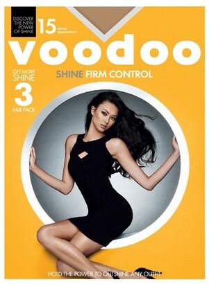 Voodoo Shine Firm Control Sheers 15 Denier 3 pack Lt Brown