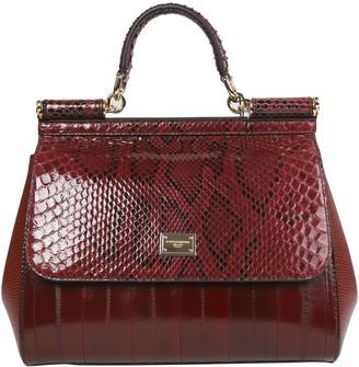 Dolce & Gabbana Burgundy Python Sicily Bag Medium