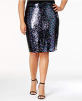 Soprano Trendy Plus Size Sequined Pencil Skirt