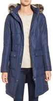 Barbour Women's Icefield Faux Fur Trim Quilted Long Coat