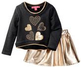 Betsey Johnson French Terry Heart Top & Rose Gold Skirt Set (Little Girls)