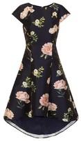Dorothy Perkins Womens Chi Chi London Navy Floral Print Dip Hem Skater Dress, Navy