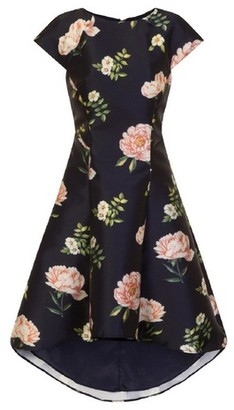 Dorothy Perkins Womens Chi Chi London Navy Floral Print Dip Hem Skater Dress, Navy