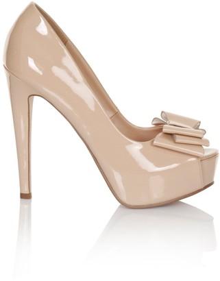 Little Mistress Footwear Nude Bow Peep Toe Heel