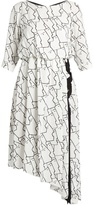 Osman Gigi face-print asymmetric crepe dress