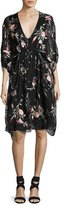 Josie Natori Embroidered Floral-Print Silk Caftan Dress, Black