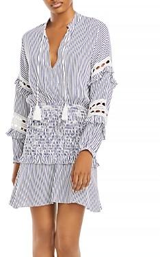 Aqua Striped Eyelet Mini Dress - 100% Exclusive