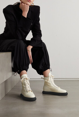 ATTICO Selene Logo-embellished Shell And Leather Combat Boots