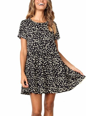 Evelure Women's Chiffon Summer Sleeveless Polka Dot Ruffle Hem Swing Dress with Pockets Black (L