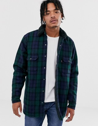 Levi's borg lined wool check worker jacket in backhousia mineral black-Navy