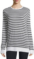Alexander Wang Long-Sleeve Striped Linen-Blend Top, Ink/Ivory