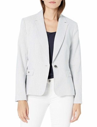 Nine West Women's Notch Collar Herringbone 1 Button Jacket with Pockets