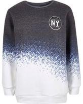 River Island Boys blue faded geo print sweatshirt