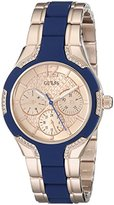 GUESS Women's U0556L5 Sporty Rose Gold-Tone Watch with Crystal-Accented Bezel and Blue Center Link Pilot Buckle