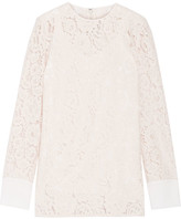Lanvin Crepe De Chine-trimmed Corded Lace Top - Beige