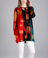 Lily Red & Black Abstract Tie-Neck Long-Sleeve Tunic - Plus Too