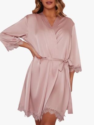 Chi Chi London Sophie Satin Lace Trim Robe, Pink