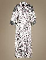 M&S Collection Satin Printed Long Wrap Dressing Gown