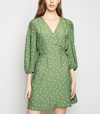New Look Spot Puff Sleeve Wrap Dress