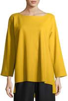 Eileen Fisher Bateau-Neck Boiled Wool Jersey Top, Plus Size