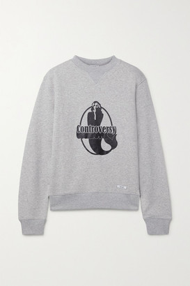 BLOUSE - Controversy Printed Organic Cotton-jersey Sweatshirt - Light gray