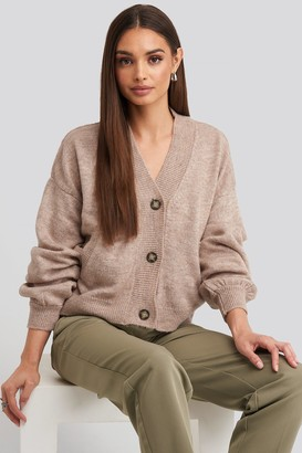 NA-KD Short Button Front Cardigan Grey