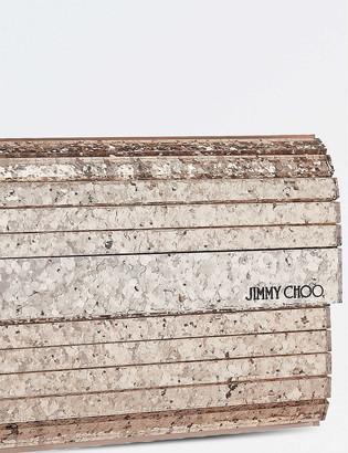 Jimmy Choo Shadow coarse glitter acrylic clutch bag