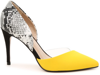 Mix No. 6 Women's Hilani Pumps Yellow Size 5 Faux Leather / Lucite From Sole Society