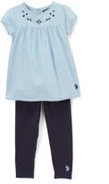 U.S. Polo Assn. Denim Floral Babydoll Top & Leggings - Infant & Toddler