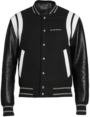 Givenchy Split Leather Logo Bomber Jacket