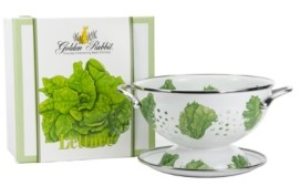 Golden Rabbit Lettuce Enamelware 2-Piece Giftboxed Colander