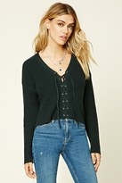 Forever 21 Lace-Up Ribbed Knit Sweater Top