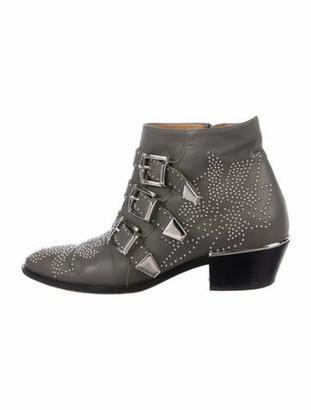 Chloé Leather Studded Accents Western Boots Grey