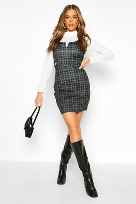 boohoo Check Button Detail V Bar Pinafore Dress