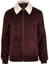River Island Mens Burgundy faux suede borg collar jacket