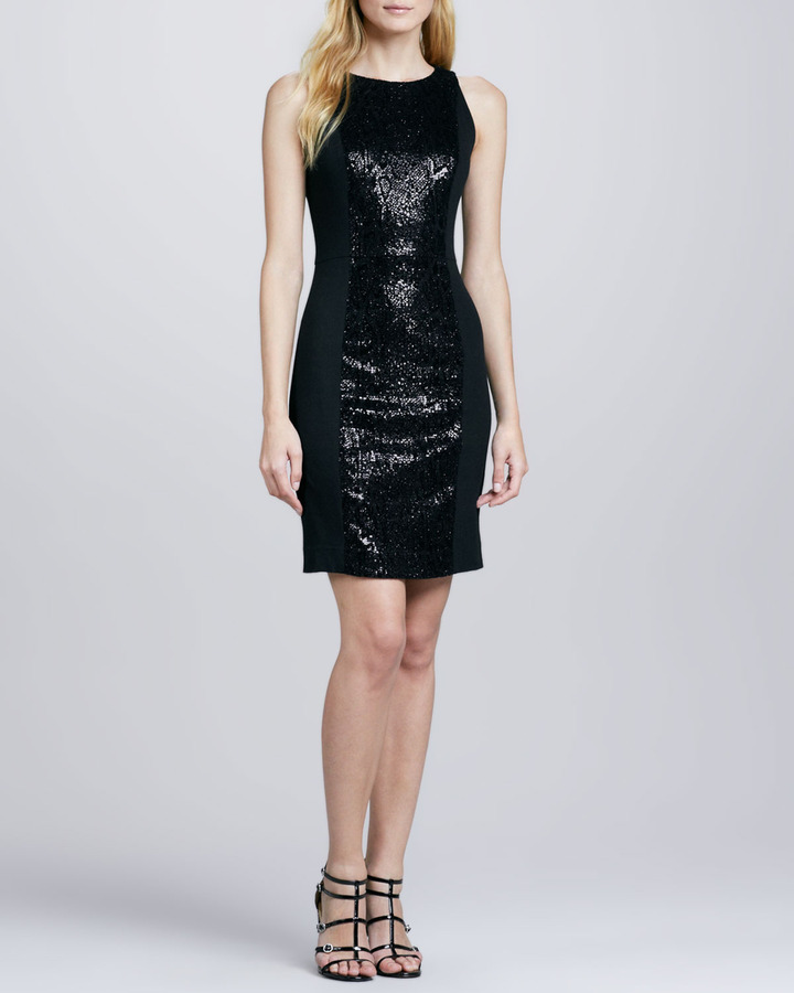Milly Shimmery-Panel Fitted Dress