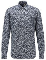 BOSS Printed regular-fit shirt in cotton with linen and kapok