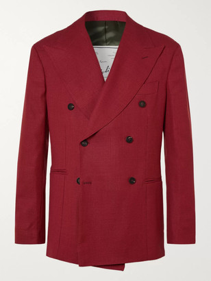 Giuliva Heritage Collection Stefano Double-Breasted Virgin Wool-Hopsack Blazer