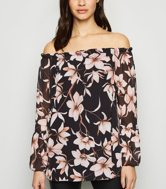 New Look Mela Floral Chiffon Bardot Top