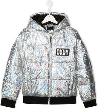 DKNY Holographic-Effect Padded Jacket