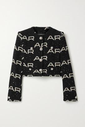 Alessandra Rich Cropped Embellished Cotton-blend Boucle Jacket - Black